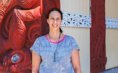 New Fellow Professor Jacinta Ruru at Papa o Te Aroha Marae, Tokoroa. Photo credit: Kirsten Ellis, Raukawa Charitable Trust