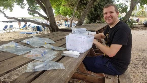 Nathan collecting samples in the Caribbean
