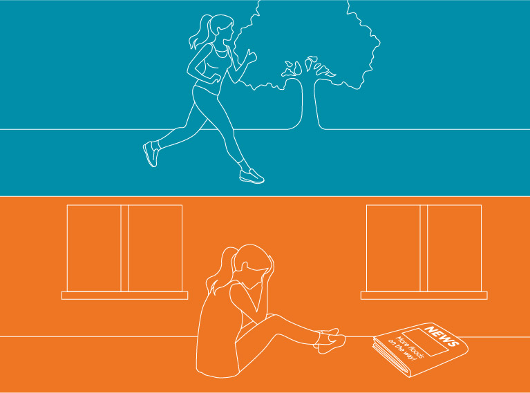 Image of a woman jogging and a woman crying on floor.